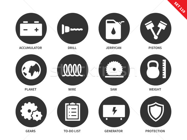 Tools icons on white background Stock photo © tkacchuk