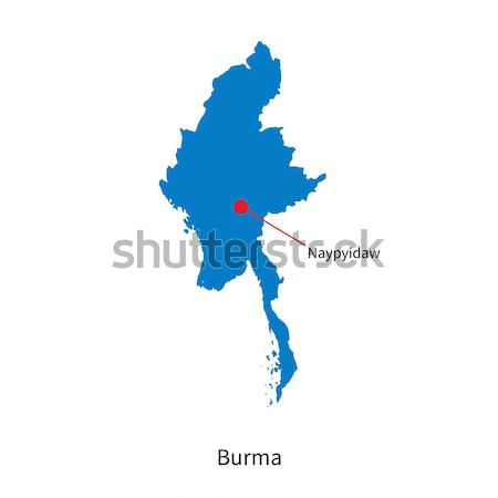 Detailed vector map of Burma and capital city Naypyidaw Stock photo © tkacchuk