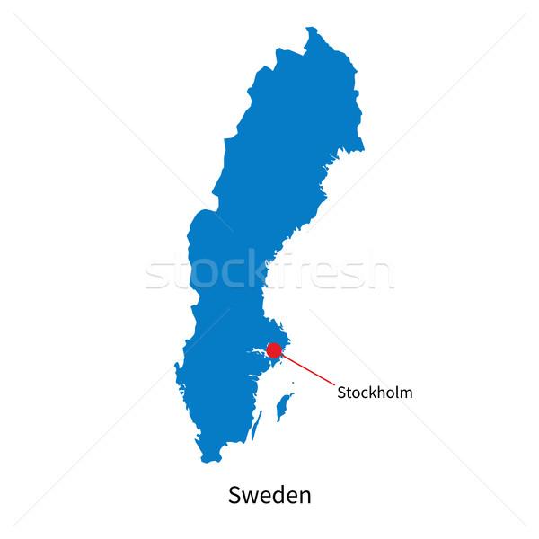 Részletes vektor térkép Svédország város Stockholm Stock fotó © tkacchuk
