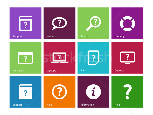 Help and FAQ icons on color background. Stock photo © tkacchuk