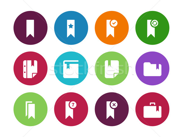 Bookmark, tag, circle icons on white background. Stock photo © tkacchuk