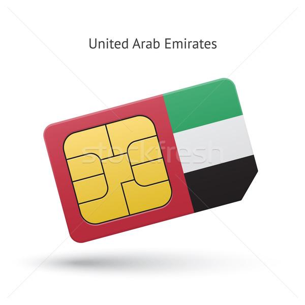 United Arab Emirates mobile phone sim card with flag. Stock photo © tkacchuk