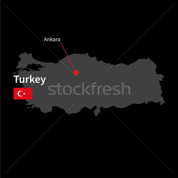 Detalhado mapa Turquia cidade Ancara bandeira Foto stock © tkacchuk