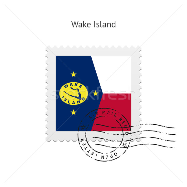 Virrasztás sziget zászló postabélyeg fehér felirat Stock fotó © tkacchuk