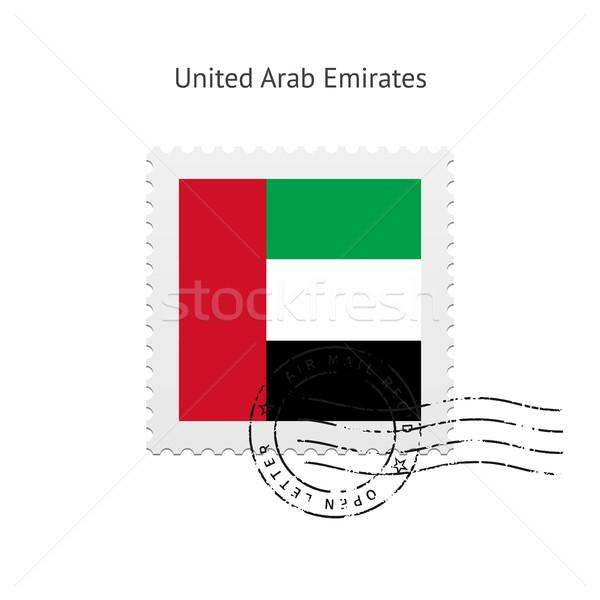 Egyesült Arab Emírségek zászló postabélyeg fehér felirat levél Stock fotó © tkacchuk