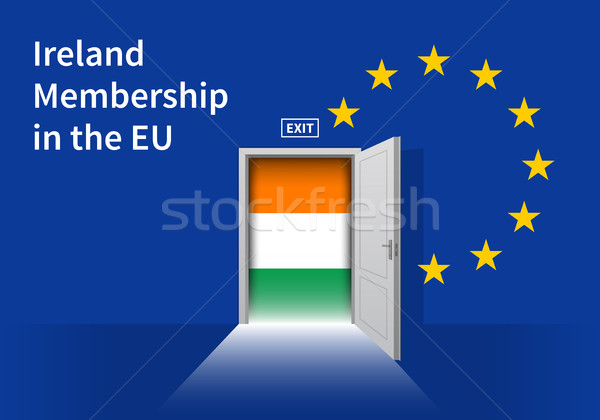 European Union flag wall with Ireland flag door. EU Flag. Stock photo © tkacchuk