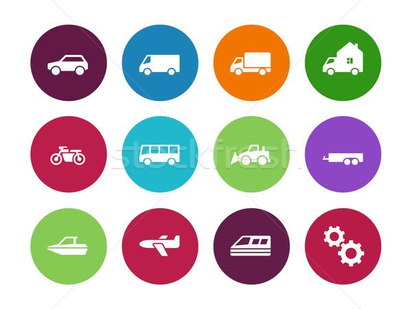 Transport circle icons on white background. Stock photo © tkacchuk