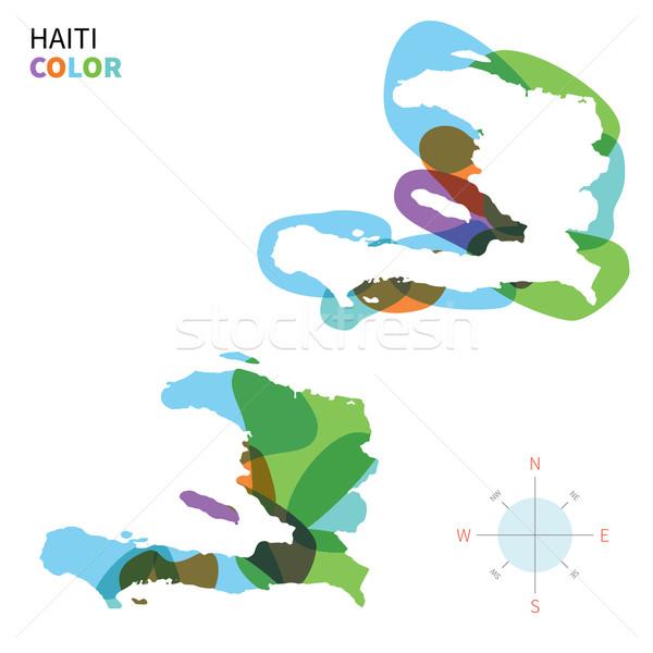 Abstract vector kleur kaart Haïti transparant Stockfoto © tkacchuk