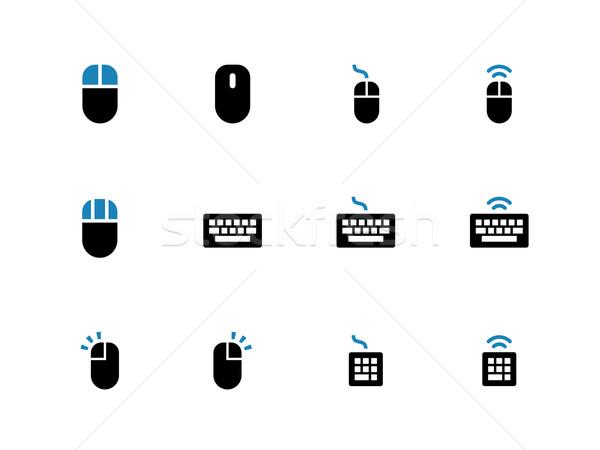 Keyboard and mouse duotone icons on white background. Stock photo © tkacchuk