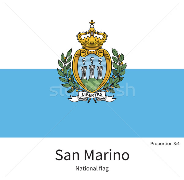 National flag of San Marino with correct proportions, element, colors Stock photo © tkacchuk