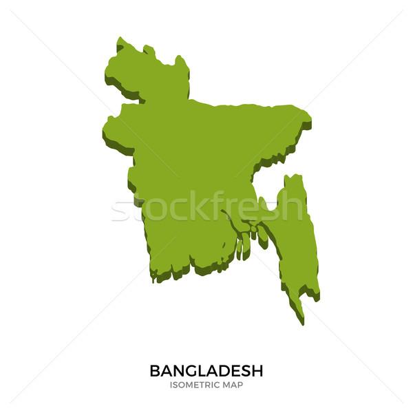 Isometrische kaart Bangladesh gedetailleerd geïsoleerd 3D Stockfoto © tkacchuk