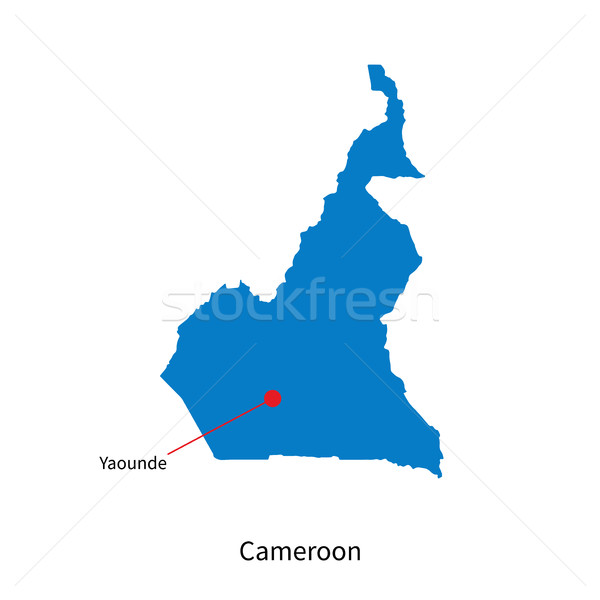 Detailed vector map of Cameroon and capital city Yaounde Stock photo © tkacchuk