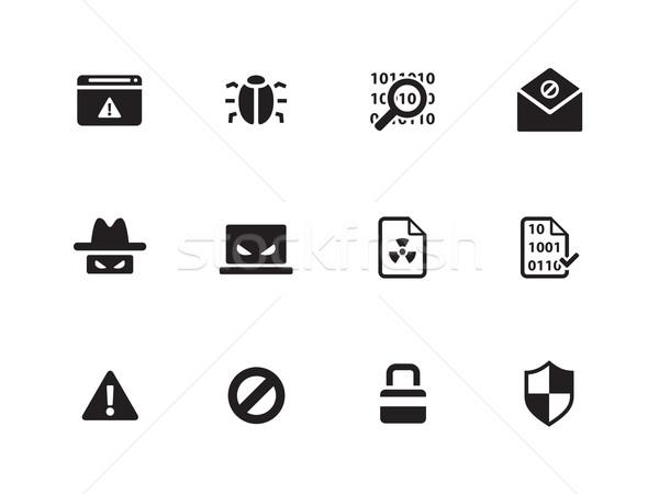 Stock fotó: Biztonság · ikonok · fehér · szem · internet · laptop
