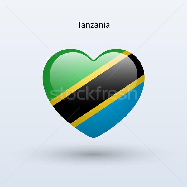 Miłości Tanzania symbol serca banderą ikona Zdjęcia stock © tkacchuk
