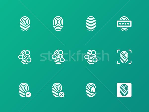 Finger authorization icons on green background. Stock photo © tkacchuk