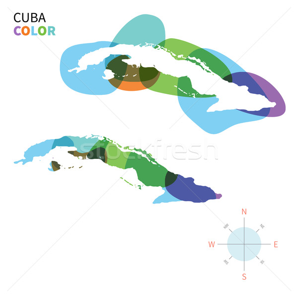 Abstract vector kleur kaart Cuba transparant Stockfoto © tkacchuk