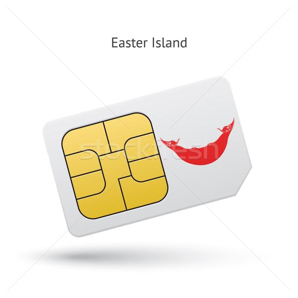 Ilha de Páscoa telefone móvel cartão bandeira negócio projeto Foto stock © tkacchuk