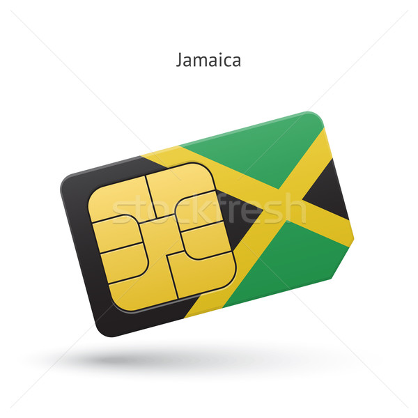 Jamaica mobile phone sim card with flag. Stock photo © tkacchuk