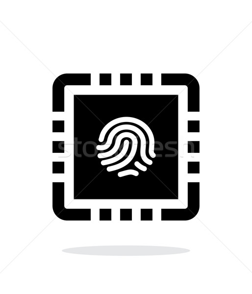 CPU segura simple icono blanco diseno Foto stock © tkacchuk