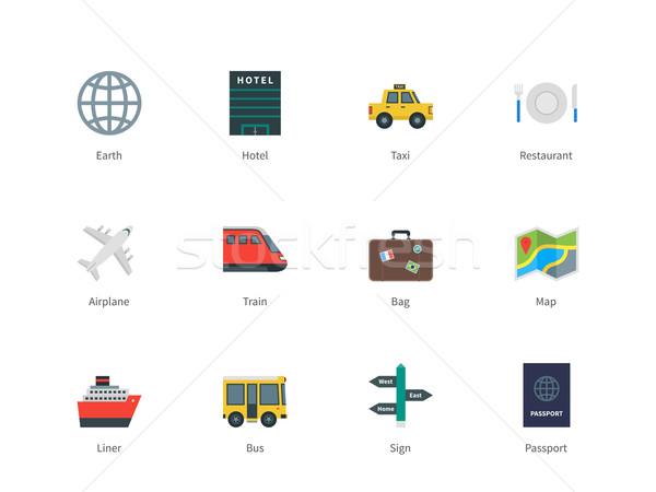 Travel color icons on white background. Stock photo © tkacchuk
