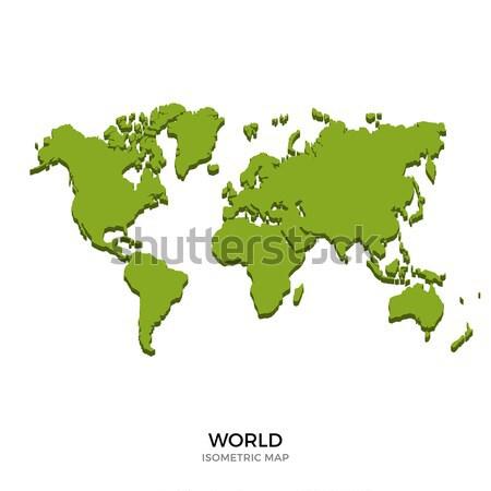 Stock fotó: Izometrikus · térkép · világ · részletes · izolált · 3D
