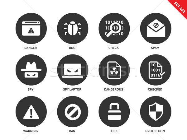 Security icons on white background Stock photo © tkacchuk