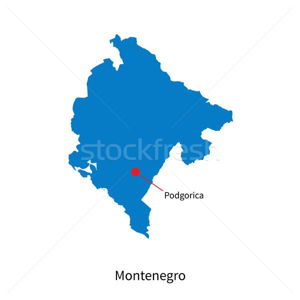 Detailed vector map of Montenegro and capital city Podgorica Stock photo © tkacchuk