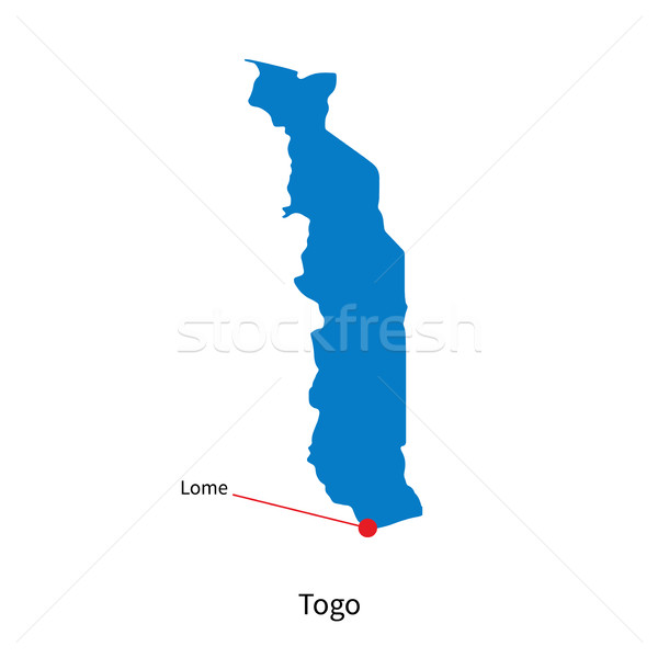 Detailed vector map of Togo and capital city Lome Stock photo © tkacchuk