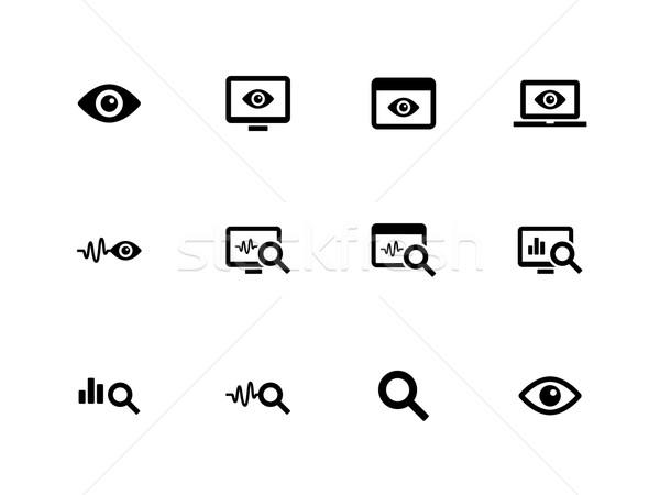 Ellenőrzés ikonok fehér megfigyelés számítógép szem Stock fotó © tkacchuk