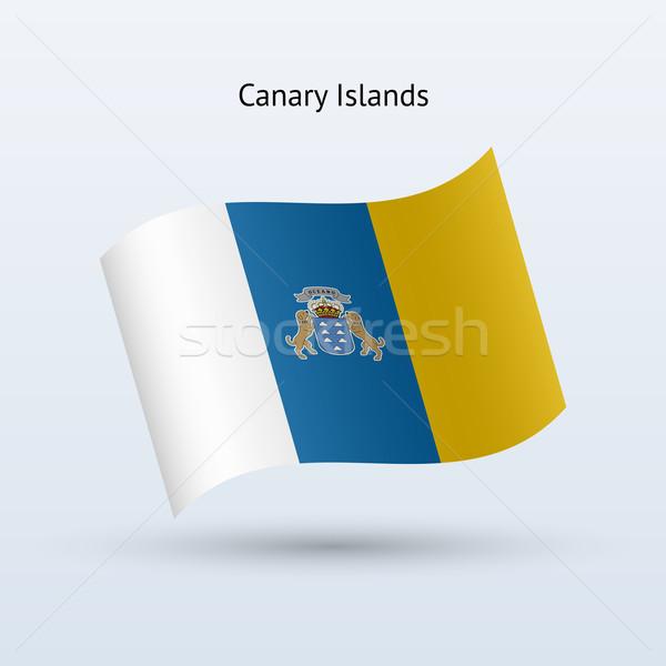 Canárias bandeira forma cinza assinar Foto stock © tkacchuk