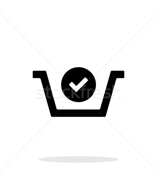 Bevásárlókosár csekk egyszerű ikon fehér háló Stock fotó © tkacchuk