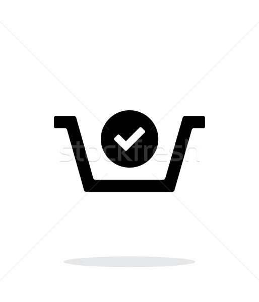 Shopping basket check simple icon on white background. Stock photo © tkacchuk