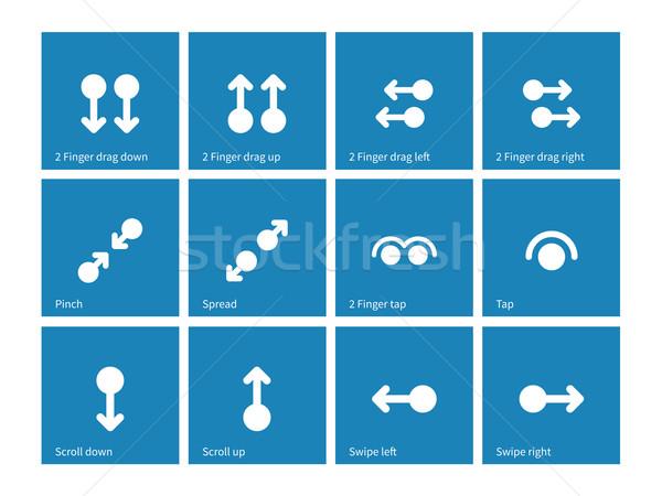 érintőképernyő gesztusok ikonok kék számítógép internet Stock fotó © tkacchuk