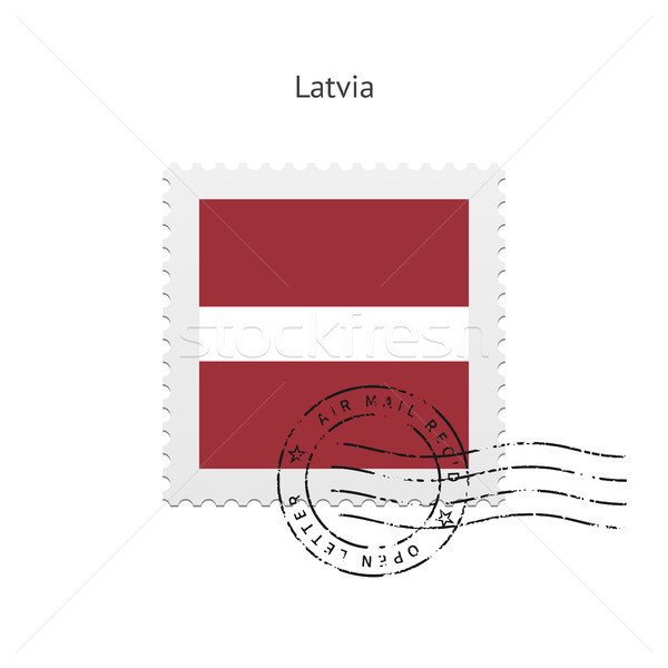 Lettország zászló postabélyeg fehér felirat levél Stock fotó © tkacchuk