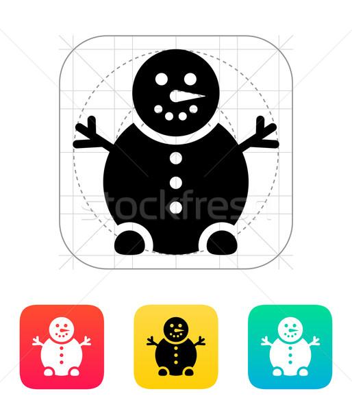 Muñeco de nieve icono sonrisa diseno signo invierno Foto stock © tkacchuk