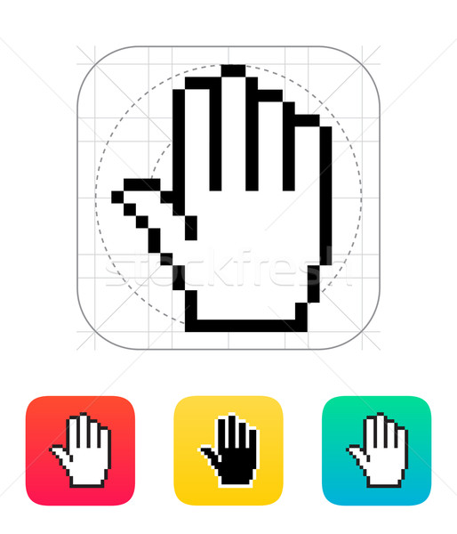 Five fingers. Pixel hand cursor icon. Stock photo © tkacchuk