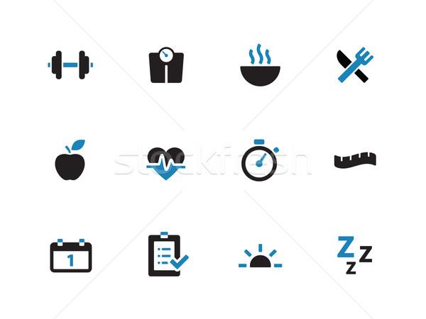 Fitness duotone icons on white background. Stock photo © tkacchuk