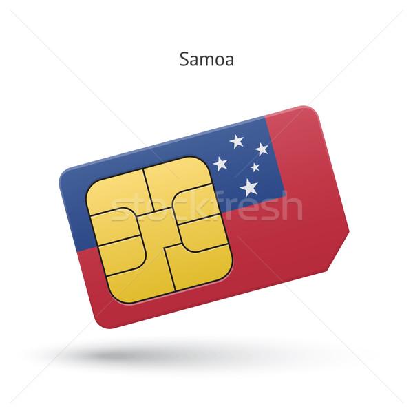 Samoa mobiele telefoon kaart vlag business ontwerp Stockfoto © tkacchuk
