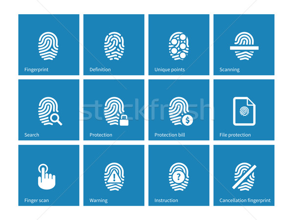 Huellas dactilares iconos azul mano seguridad información Foto stock © tkacchuk