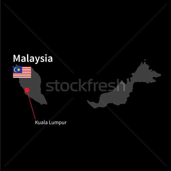 Detailed map of Malaysia and capital city Kuala Lumpur with flag on black background Stock photo © tkacchuk