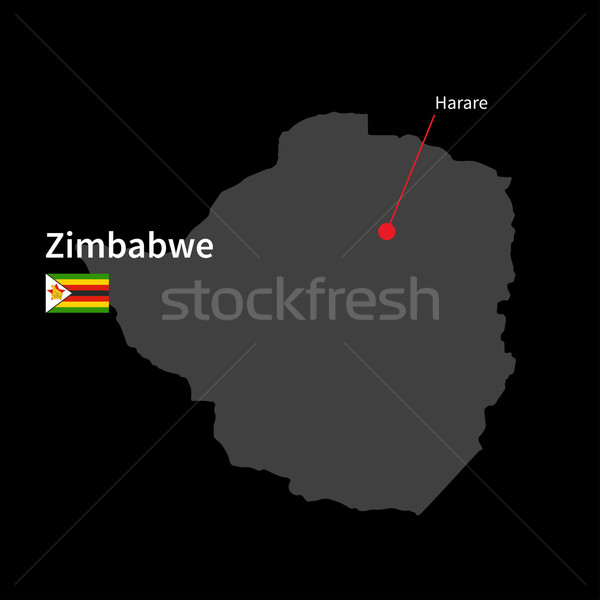Detailed map of Zimbabwe and capital city Harare with flag on black background Stock photo © tkacchuk