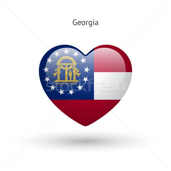 Liefde Georgië symbool hart vlag icon Stockfoto © tkacchuk