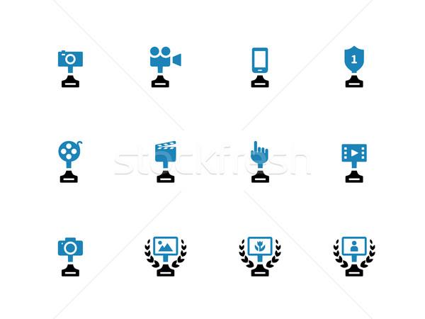 Awards duotone icons on white background. Stock photo © tkacchuk