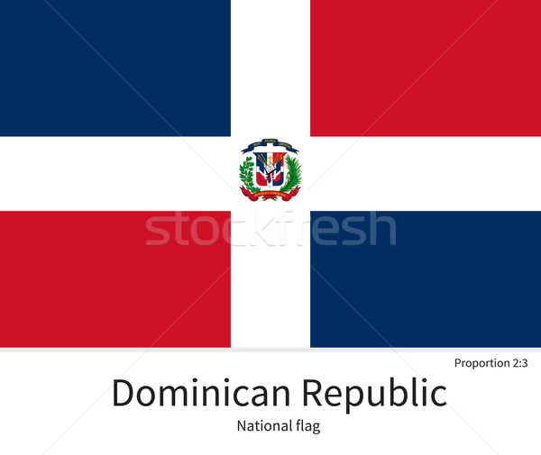 National flag of Dominican Republic with correct proportions, element, colors Stock photo © tkacchuk
