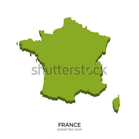 ストックフォト: アイソメトリック · 地図 · フランス · 詳しい · 孤立した · 3D