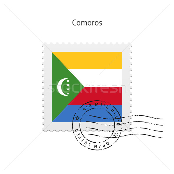 Stock photo: Comoros Flag Postage Stamp.