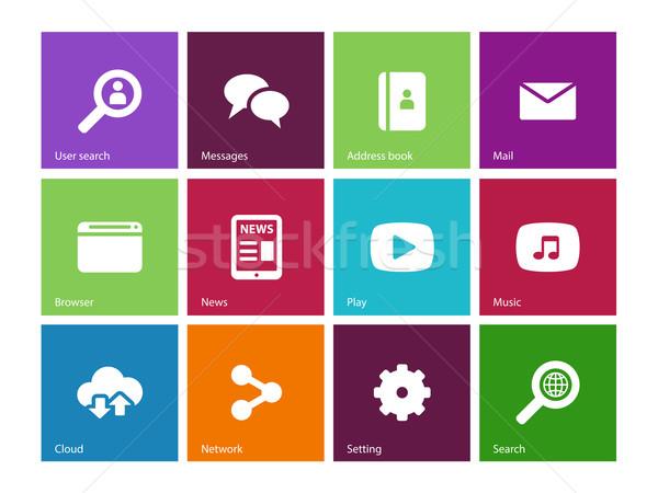 Webes ikonok szín üzlet hírek posta levél Stock fotó © tkacchuk