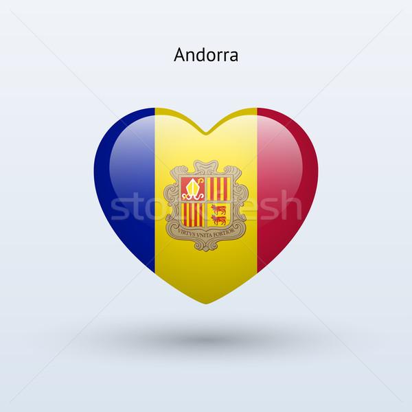 Liefde Andorra symbool hart vlag icon Stockfoto © tkacchuk