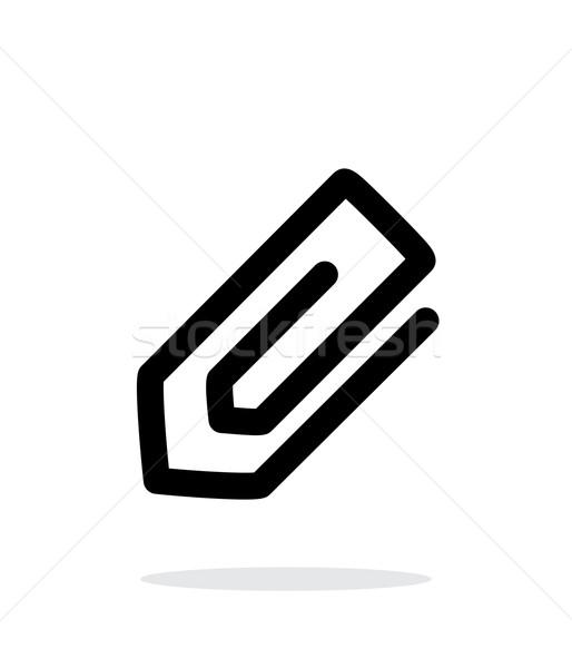 Spinacz ikona biały biuro papieru Internetu Zdjęcia stock © tkacchuk