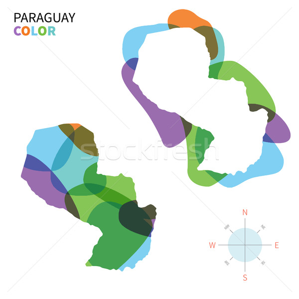 Abstract vector color map of Paraguay with transparent paint effect. Stock photo © tkacchuk